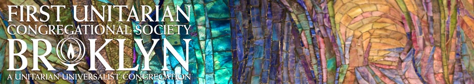 Detail of the Angel of Light Mosaic by Louis C. Tiffany on view in our Sanctuary